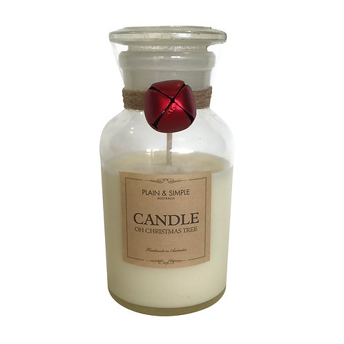 Christmas Candle 40hr - Oh Christmas Tree - Bell/Clear