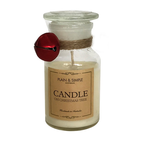 Christmas Candle 20hr - Oh Christmas Tree - Bell/Clear