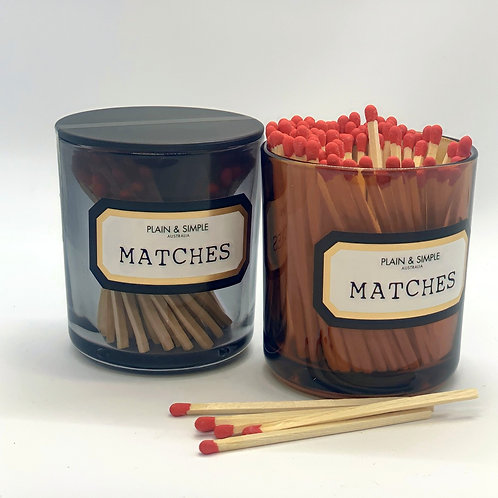 Large Smoked Grey Glass Matches