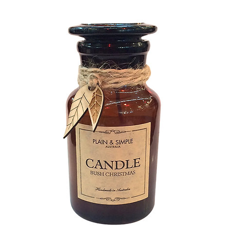 Christmas Candle 20hr - Bush Christmas - Wood/Amber Glass