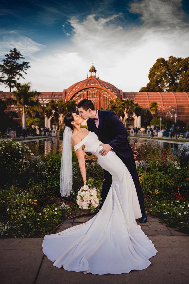 Balboa Park romantic wedding photography.