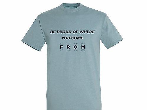 T-shirt Citation bleu crémeux
