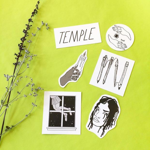 Temple Zine Sticker pack