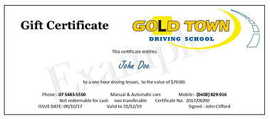 Gold Town Driving School gift vouchers