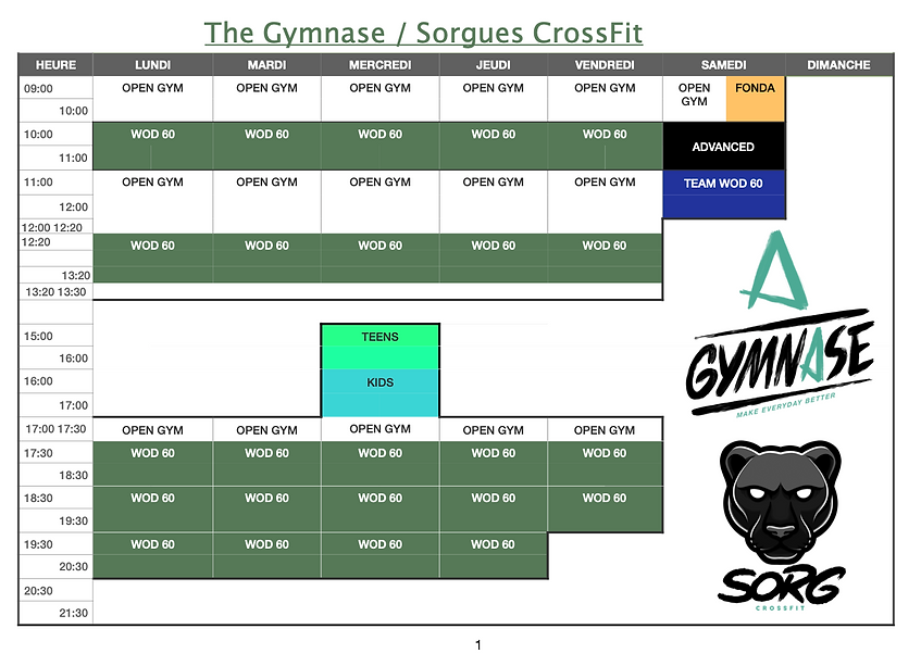 Planning The Gymnase Sorgues CrossFit 2.