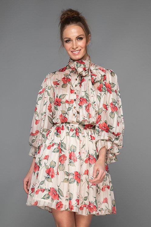Vestido Corto Gasa Floral
