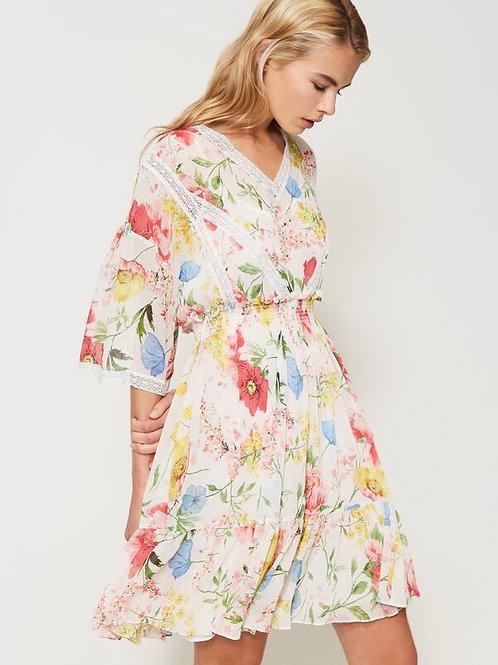 Vestido de Crepé Estampado Flores