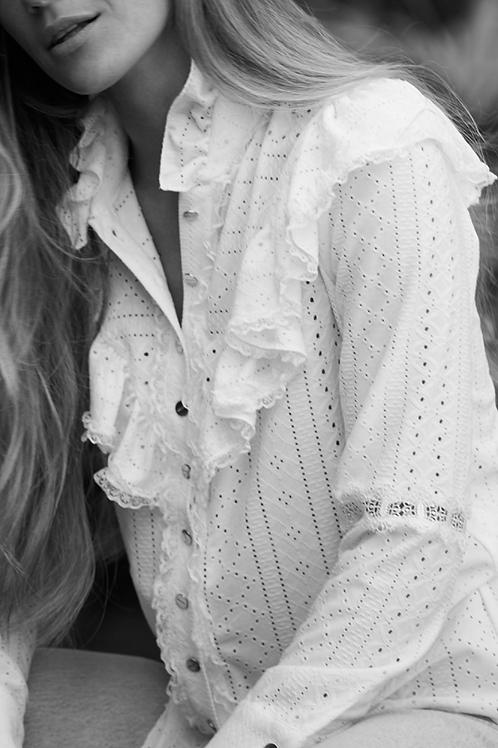 Camisa Perforado Blanco