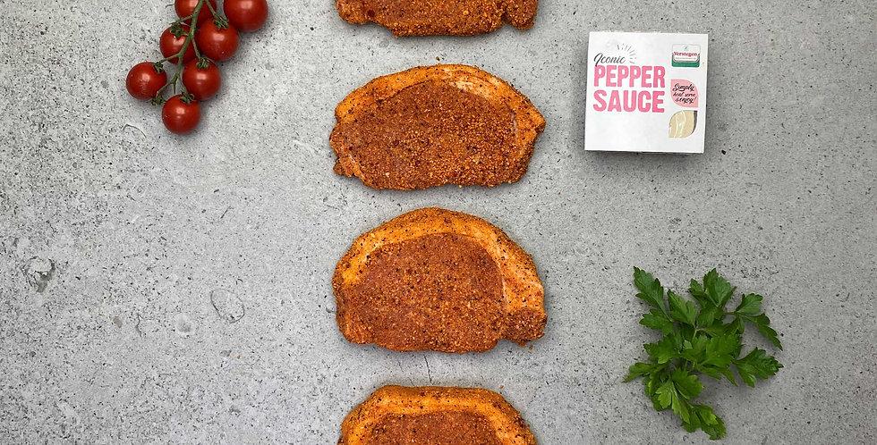 Pork Loin Steaks Pepper Glazed (560g) + Pot of Pepper Sauce (90g)