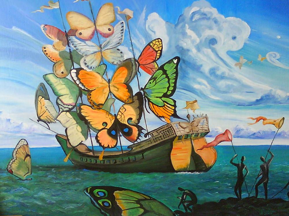 Embarcação cujas velas são borboletas. Pintura de Salvador Dali.