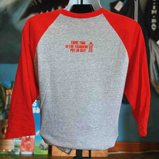 Fish T Raglan sleeve red and heather Ind