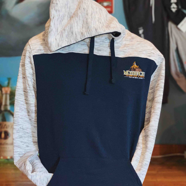 Moss LS Hoodie Navy and Light Heather Gr