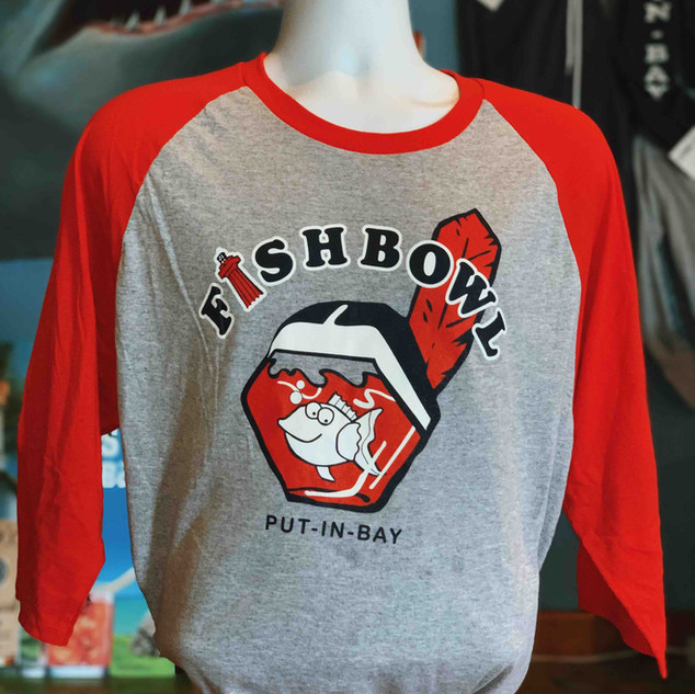 Fish T Red and Heather Gray Indians ragl