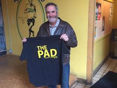 Dan showing off his new Pad shirt.