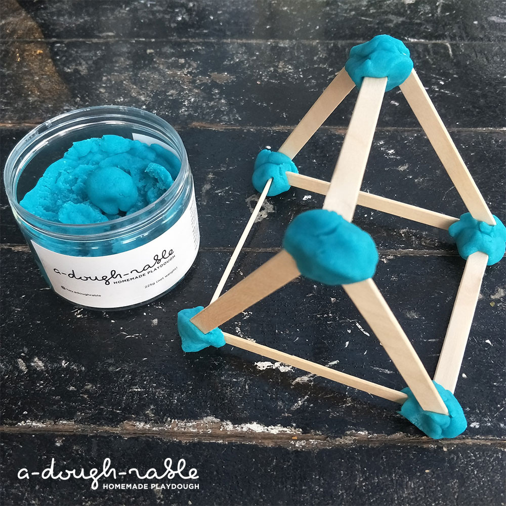 When kids build and construct designs and objects with play dough, they are actually exploring the basics of engineering. (Credit: adoughrable)