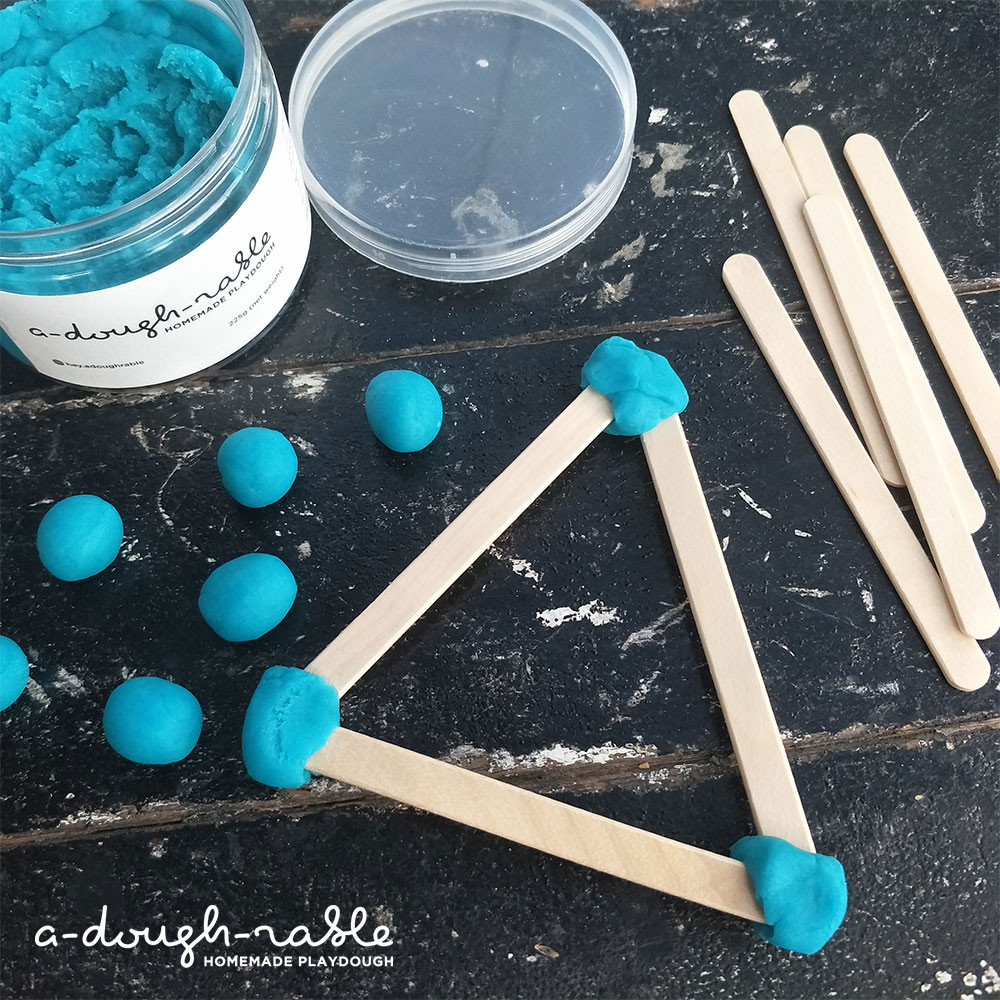 Kids can explore science when they experiment with the different shapes and uses of play dough. (Credit: adoughrable)