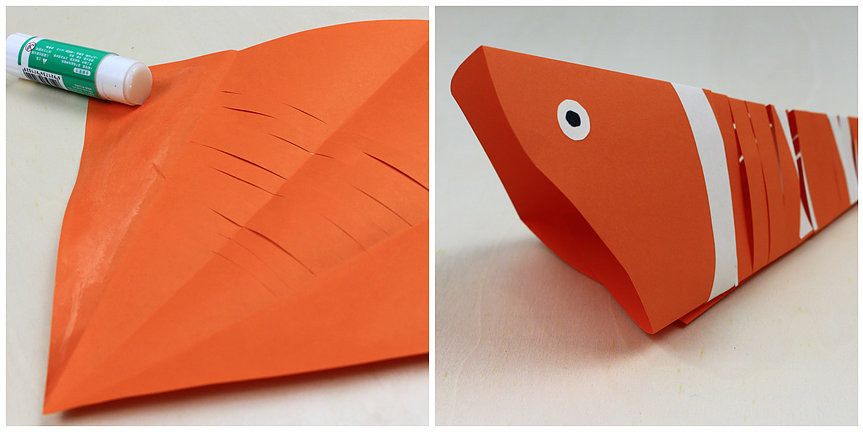 Me Books: Using color papers to create DIY paper fish.