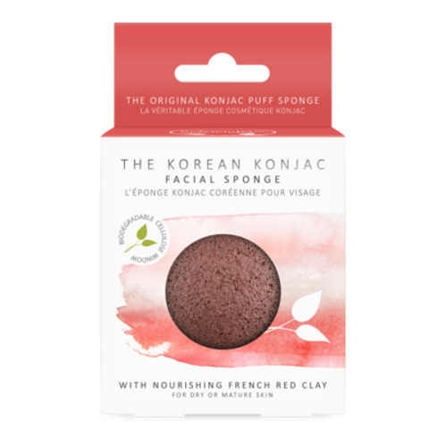KONJAC PREMIUM FACIAL PUFF SPONGE WITH FRENCH RED CLAY