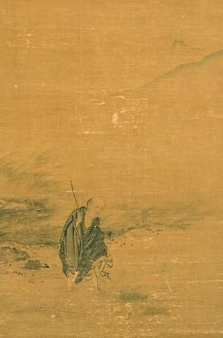 Ма Юань. Священник Дуншань пробирается через поток