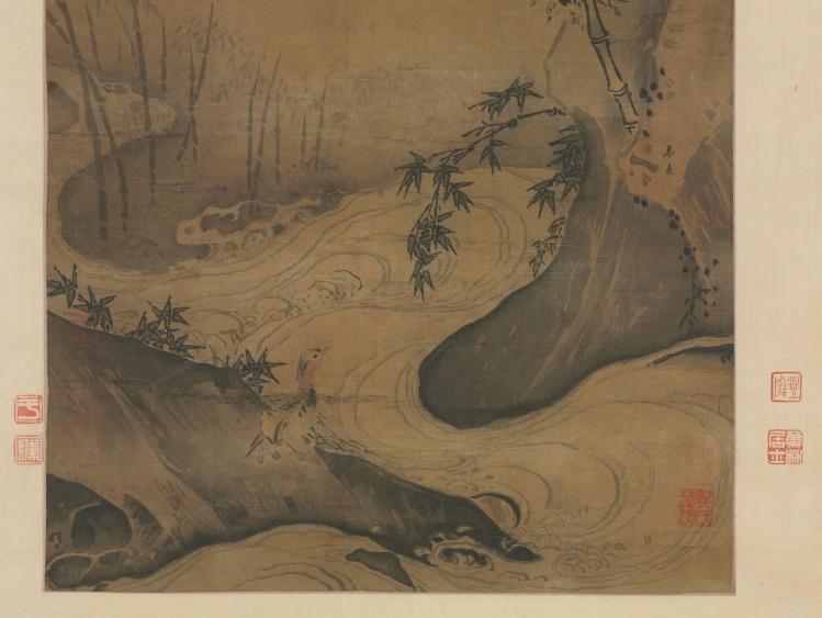 Ма Юань. Бамбук и утки в несущемся потоке. Фрагмент.
