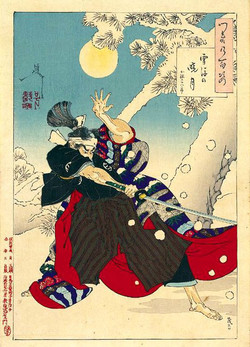 Луна рассвета и снег поворота