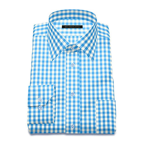 Blue Checkered - Men's Tailored Dress Shirt