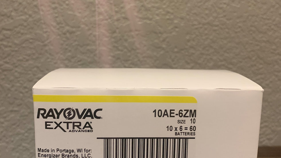 Rayovac Size 10 Hearing Aid Batteries (60 Cells)