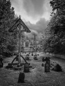2. View through churchyard