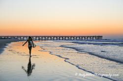 Surfer at Sunrise Isle of Palms, SC