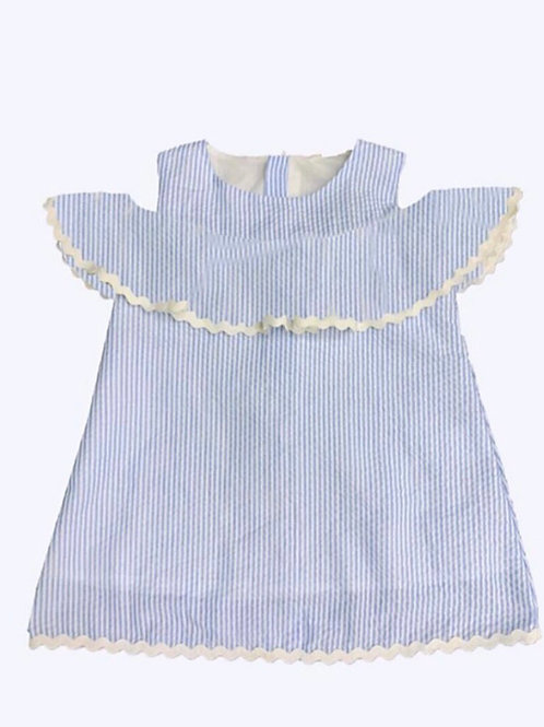 Blue and White Seersucker Day Dress