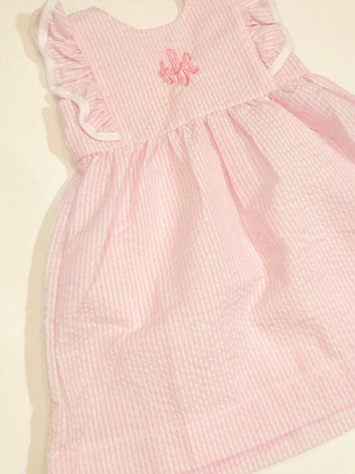 Ruffle Dress with Trim Pink and White