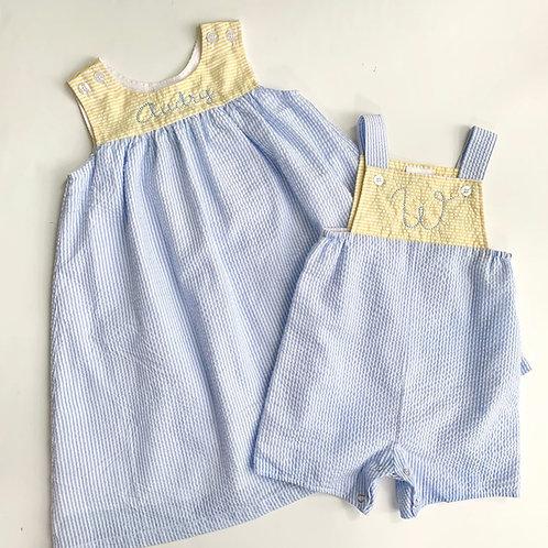 Blue/Yellow Block Seersucker Dress