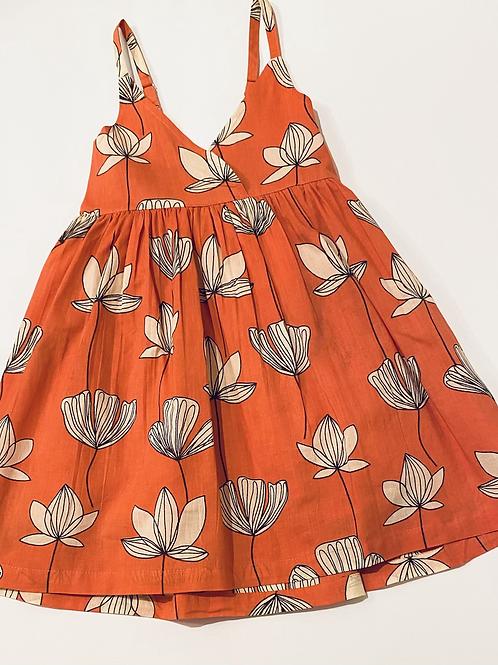 Coral Floral Girls Dress
