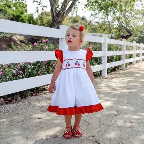 Sweet Cherry Hand Smocked Dress