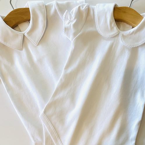 White Pima Cotton Baby Bliss Collared Bodysuit
