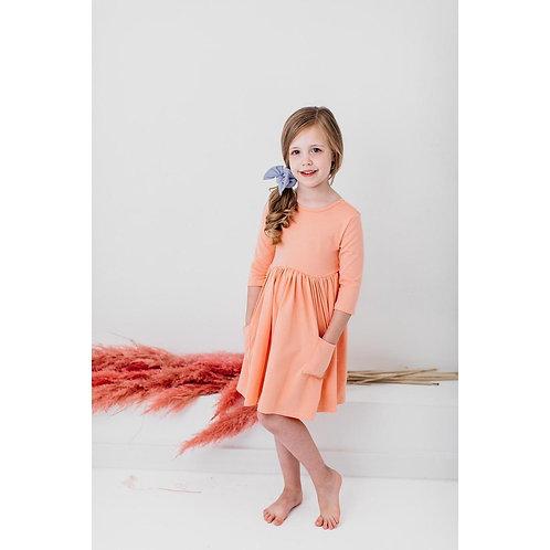 Bright Peach 3/4 Sleeve Pocket Twirl Dress