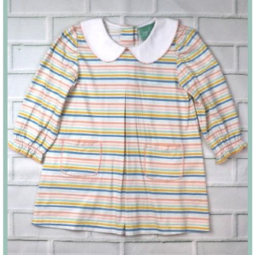 Pastel Stripe Pleated Dress