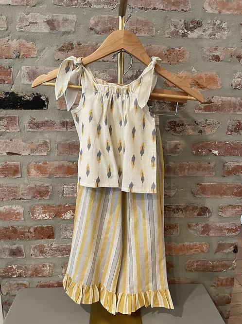 Printed Linen Girls Pant Set