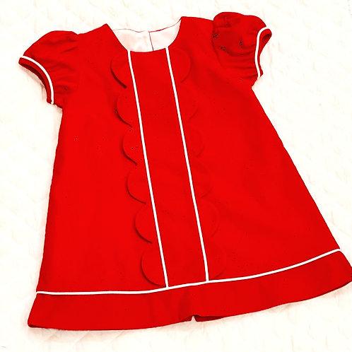 Red Corduroy Scallop Dress