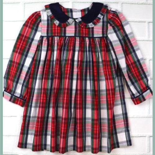 Plaid ruffle color dress