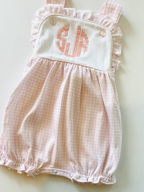 Baby Bliss Olivia Pink Gingham Pima Sun Bubble