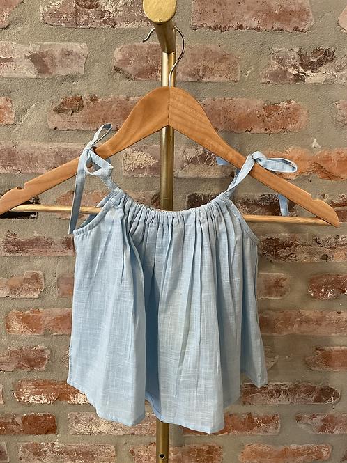Light Blue Linen Girls Top