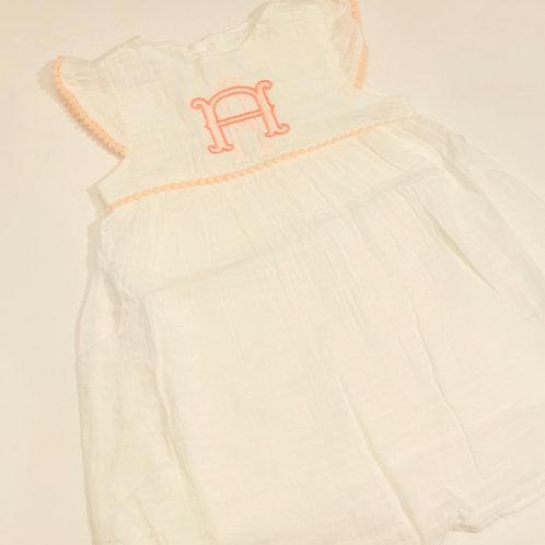White Dress with Pom Pom Trim