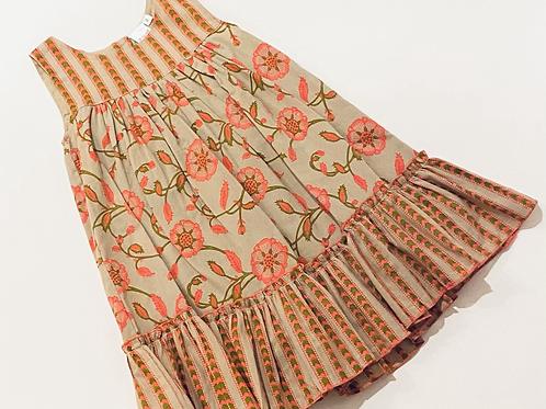Coral Pattern Ruffle Dress