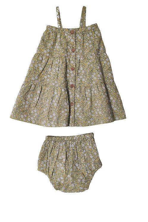 Olive Floral Button Front Dress
