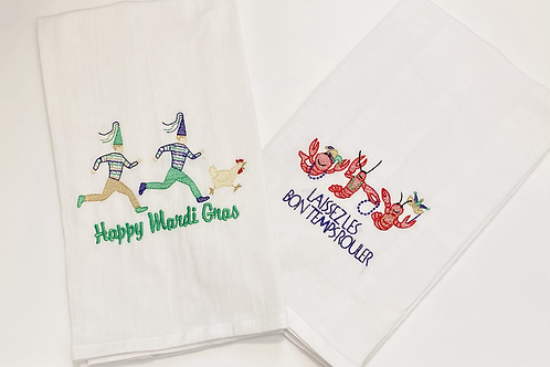 Embroidered Cotton Dish Towels