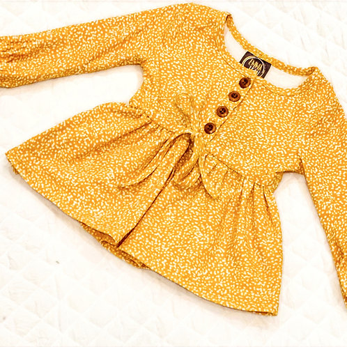 Emma Mustard Dot Dress
