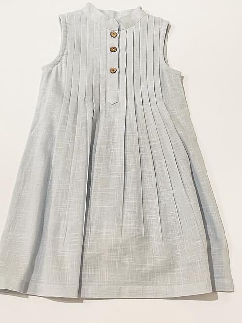 Light Blue Linen Button Dress
