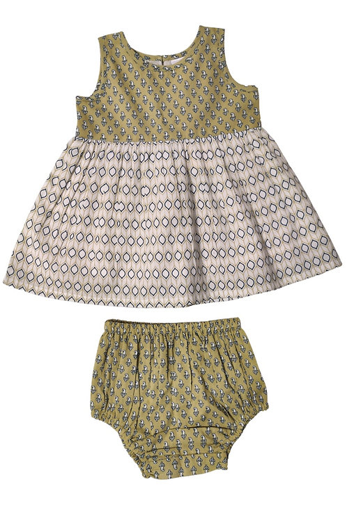 Green and White Printed Dress and Bloomer Set