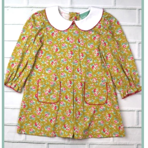 Mustard Floral Pleated Dress